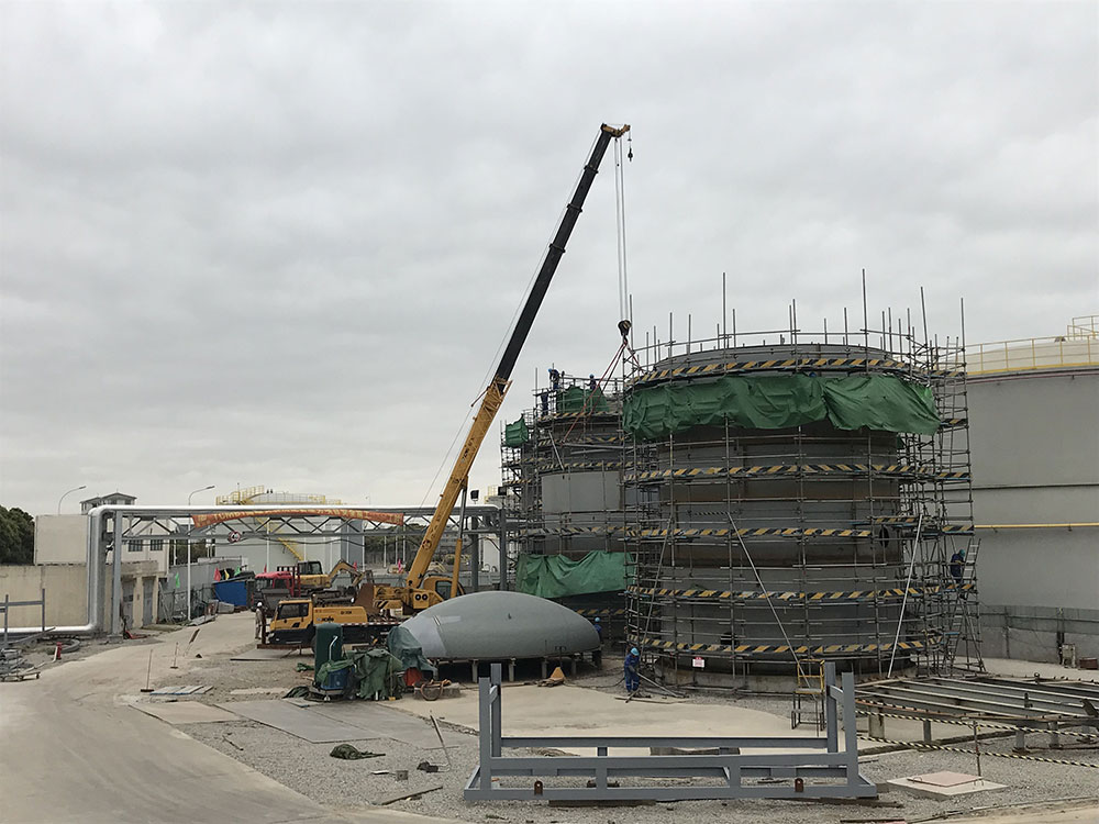 埃克森美孚TCMB项目正在施工中的F1531和1532储罐
